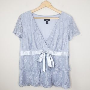 AGB   Tiered Lace Overlay Top